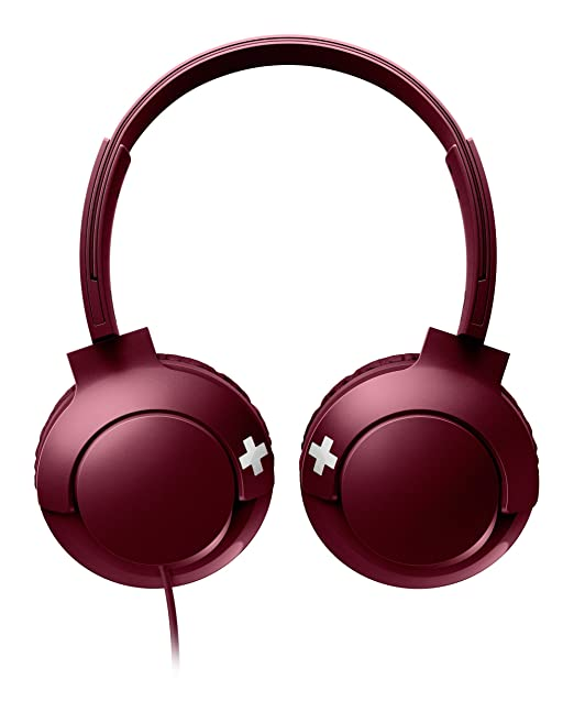 Philips Bass+ SHL3075 Closed-Back Headphones with Mic (Red)