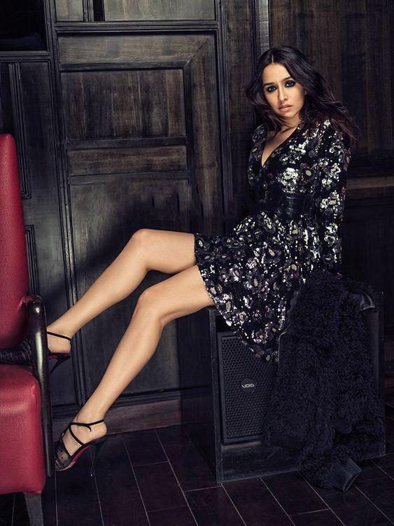 Shraddha Kapoor Hot Pic in black glittered dress
