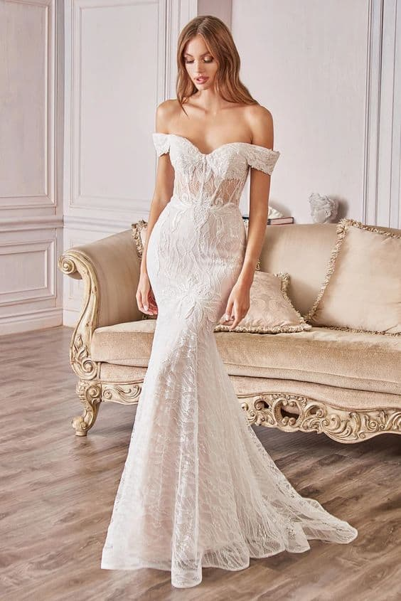 Mermaid Style Off the Shoulder Wedding Dress in Gown