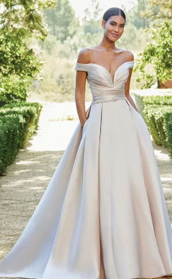 Off the shoulder gown bright